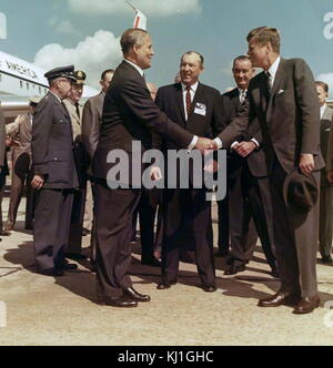 President John F. Kennedy and Vice President Lyndon B. Johnson visit Dr. Wernher von Braun. Wernher von Braun, Aerospace engineer and space architect, one of the 'Fathers of Rocket Science'. Wernher von Braun with US President John F. Kennedy (front r) next to the Air Force One at MSFC's Redstone Arsenal Airfield in Huntsville; at the back, between them, US Vice President Lyndon B. Johnson. 1962