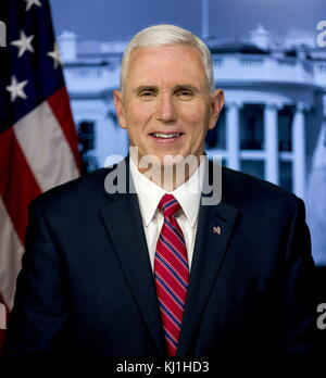 Official portrait of Vice President Mike Pence. Vice President of the United States from 2017, under President Donald - Stock Photo