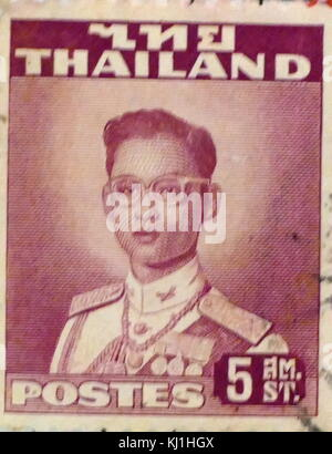 Stamp depicting Bhumibol Adulyadej 1927 – 2016, King Bhumibol of Thailand 1946 - 2016. - Stock Photo