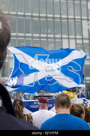 GLASGOW, SCOTLAND- SEPTEMBER 14 2014: Protest at the BBC Scotland HQ during the Scottish Independence Referendum - Stock Photo