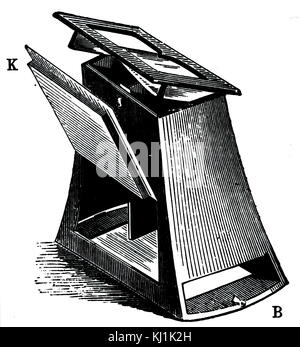 Engraving depicting a Wheatstone stereoscope. Sir Charles Wheatstone (1802-1875) an English scientist and inventor - Stock Photo