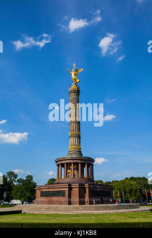 The Siegessaule is the Victory Column located on the Tiergarten at Berlin, travel in Germany - Stock Photo