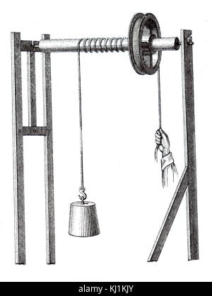 Illustration of an 19th Century mechanical pulley - Stock Photo