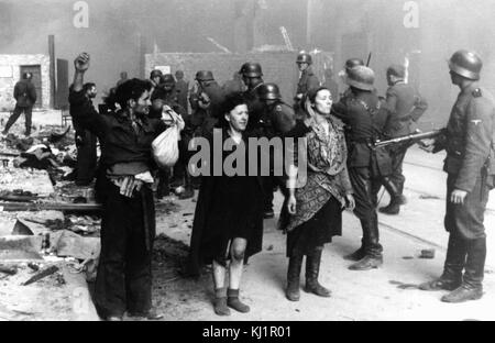 Polish Jewish resistance women, captured after the destruction of the Warsaw Ghetto in 1943. Among them was Malka - Stock Photo