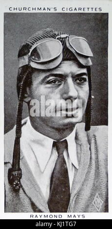 Churchman Kings of Speed Series cigarette card depicting Thomas Raymond Mays (1899-1980) a British auto racing driver - Stock Photo