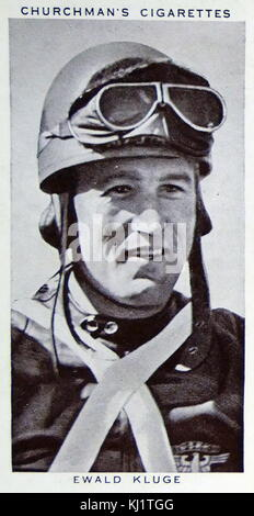 Churchman Kings of Speed Series cigarette card depicting Ewald Kluge (1909-1964) a German motorcyclist. Dated 20th - Stock Photo