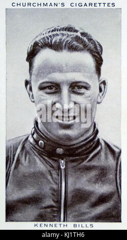Churchman Kings of Speed Series cigarette card depicting Kenneth Bills, a British Motorcycle champion. Dated 20th - Stock Photo