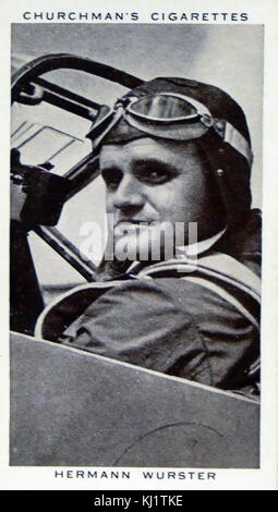 Churchman Kings of Speed Series cigarette card depicting Hermann Wurster, German pilot and aeronautical engineer. - Stock Photo