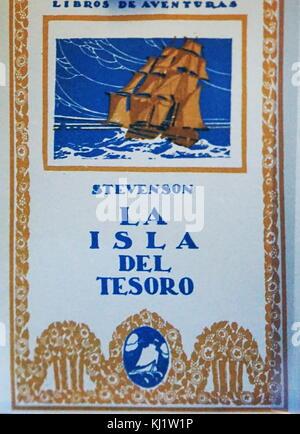 Front cover of 'La isla del tesoro' which translates to Treasure Island by Robert Louis Stevenson (1850-1894) a - Stock Photo