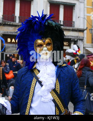 Costumed attendee at the Venice Carnival (Carnevale di Venezia), an annual festival held in Venice, Italy. Started - Stock Photo