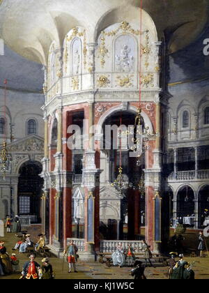 Painting titled 'London: Interior of the Rotunda at Ranelagh' by Giovanni Antonio Canal (1697-1768) an Italian painter. - Stock Photo