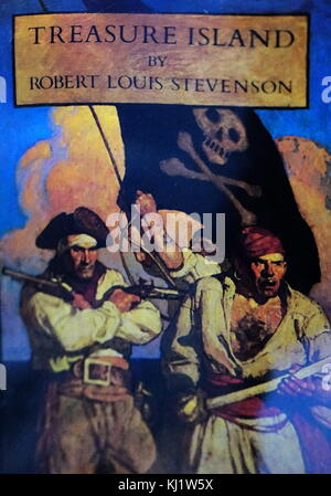 Front cover of Treasure Island by Robert Louis Stevenson (1850-1894) a Scottish novelist, poet, essayist, and travel - Stock Photo