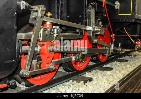 Locomotive wheels are close-up. - Stock Photo