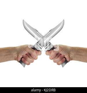 Objects Hands action - Two crossed Hand holds Survival knife isolated white background. - Stock Photo