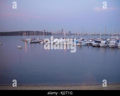 Boats moored at royal perth yacht club - Stock Photo