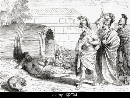 The alleged meeting between Diogenes, who was relaxing in the morning sunlight, and Alexander the Great.  Alexander, - Stock Photo