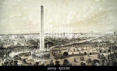 An illustration of projected improvements in Washington DC, depicts the Washington Monument with a proposed circular - Stock Photo