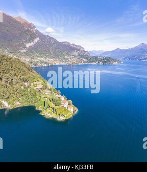 Villa Balbianello, lake of Como. Aerial view