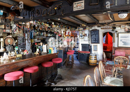 The Pigs Nose Inn, East Prawle, Devon.  Traditional English country pub near the sea, with eclectic interior - Stock Photo