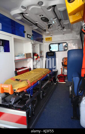 Ambulance car from inside and back space. - Stock Photo
