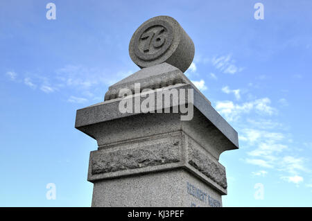 76th New York Infantry Memorial monument at the Gettysburg National Military Park, Pennsylvania. - Stock Photo
