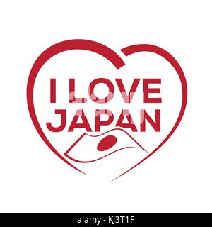 I love japan with outline of heart and japanese flag, icon design, isolated on white background. - Stock Photo