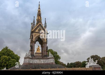 Kensington Gardens, London-September 6,2017: The Albert Memorial on Kensington Gardens on September 6, 2017 in London, - Stock Photo