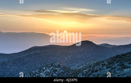 Sunset from the Ancient Bristlecone Pine Forest in the White Mountains in Inyo County in eastern California. - Stock Photo