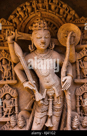 Carved idol of Lord Rama on the inner wall and pillars of Rani ki vav, an intricately constructed step well on the - Stock Photo
