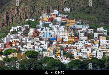 Colourful cub houses at the fishing village San Andres, south east of the island, Tenerife island, Canary islands, - Stock Photo