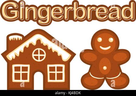 Xmas ginger bread cookie man and house colorful bright poster. - Stock Photo