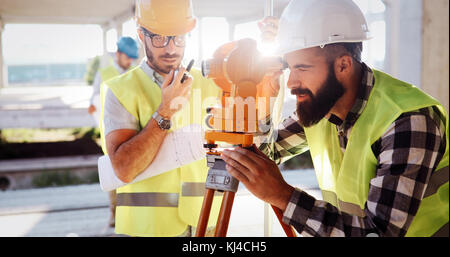 Architecture engineering teamwork meeting at workplace - Stock Photo