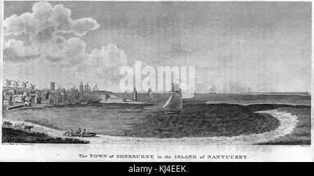 Engraving depicting a bay with boats, houses and people on the shore, titled 'The Town of Sherburne in the Island - Stock Photo