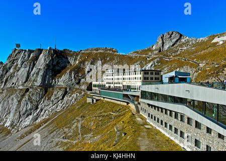 Historical mountain hotel Pilatus-Kulm on the Pilatus massif, Alpnachstad, Switzerland - Stock Photo