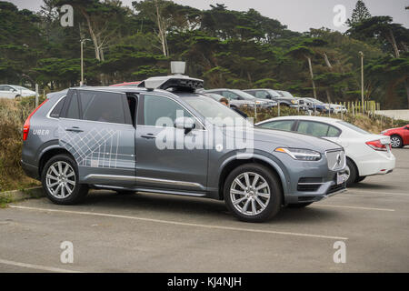 August 10, 2017 San Francisco/CA/USA - Uber self-driving cars have been allowed to run tests in San Francisco starting - Stock Photo
