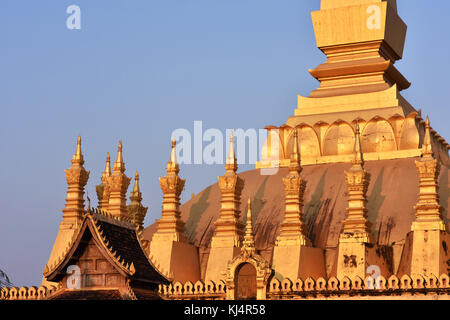 Pha that luang golden stupa, Vientiane Laos - Stock Photo