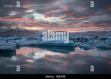 Glacier lagoon on the south east coast of Iceland - Stock Photo