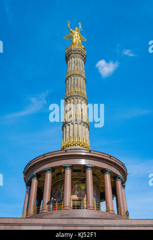 Berlin Siegessaule, view of the landmark Siegessaule victory column in the Tiergarten, Berlin Germany. - Stock Photo