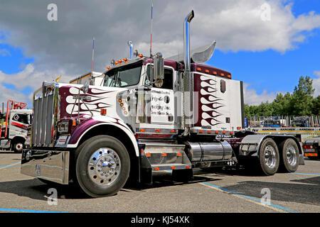 HAMEENLINNA, FINLAND - JULY 11, 2015: Classic Kenworth W900B  truck tractor on display at Tawastia Truck Weekend - Stock Photo