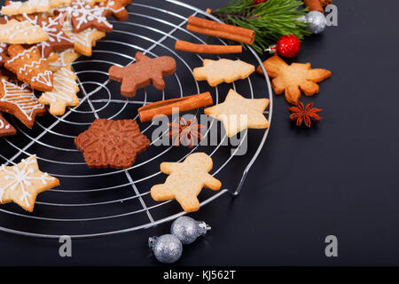 Baking concept Fresh bake Homemade organic Butter sugar Cookies various shape with copy space - Stock Photo