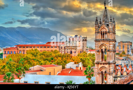 Tower of Palermo Cathedral and Palazzo dei Normanni at sunset - Sicily, Italy - Stock Photo