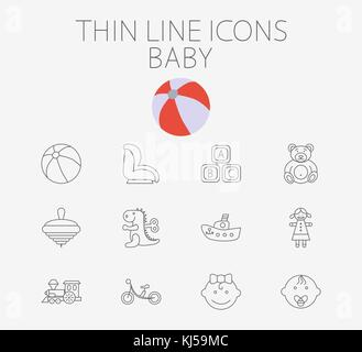 Baby thin line vector icon set for web and mobile applications. Set includes - baby boy, girl, ball, car seat, ship, - Stock Photo