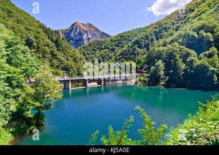 dam with blue and green water forms a small lake in the midst of mountains covered by dense forests - Stock Photo