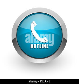 Hotline blue silver metallic chrome border web and mobile phone icon on white background with shadow - Stock Photo