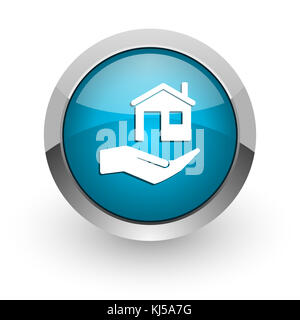 House care blue silver metallic chrome border web and mobile phone icon on white background with shadow - Stock Photo