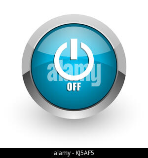 Power off blue silver metallic chrome border web and mobile phone icon on white background with shadow - Stock Photo