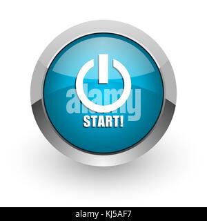 Start blue silver metallic chrome border web and mobile phone icon on white background with shadow - Stock Photo