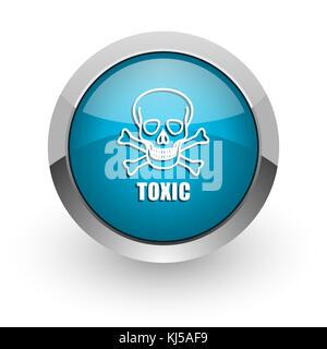 Toxic skull blue silver metallic chrome border web and mobile phone icon on white background with shadow - Stock Photo