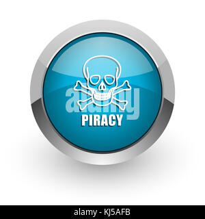 Piracy skull blue silver metallic chrome border web and mobile phone icon on white background with shadow - Stock Photo