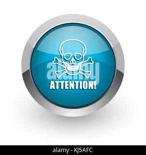 Attention skull blue silver metallic chrome border web and mobile phone icon on white background with shadow - Stock Photo
